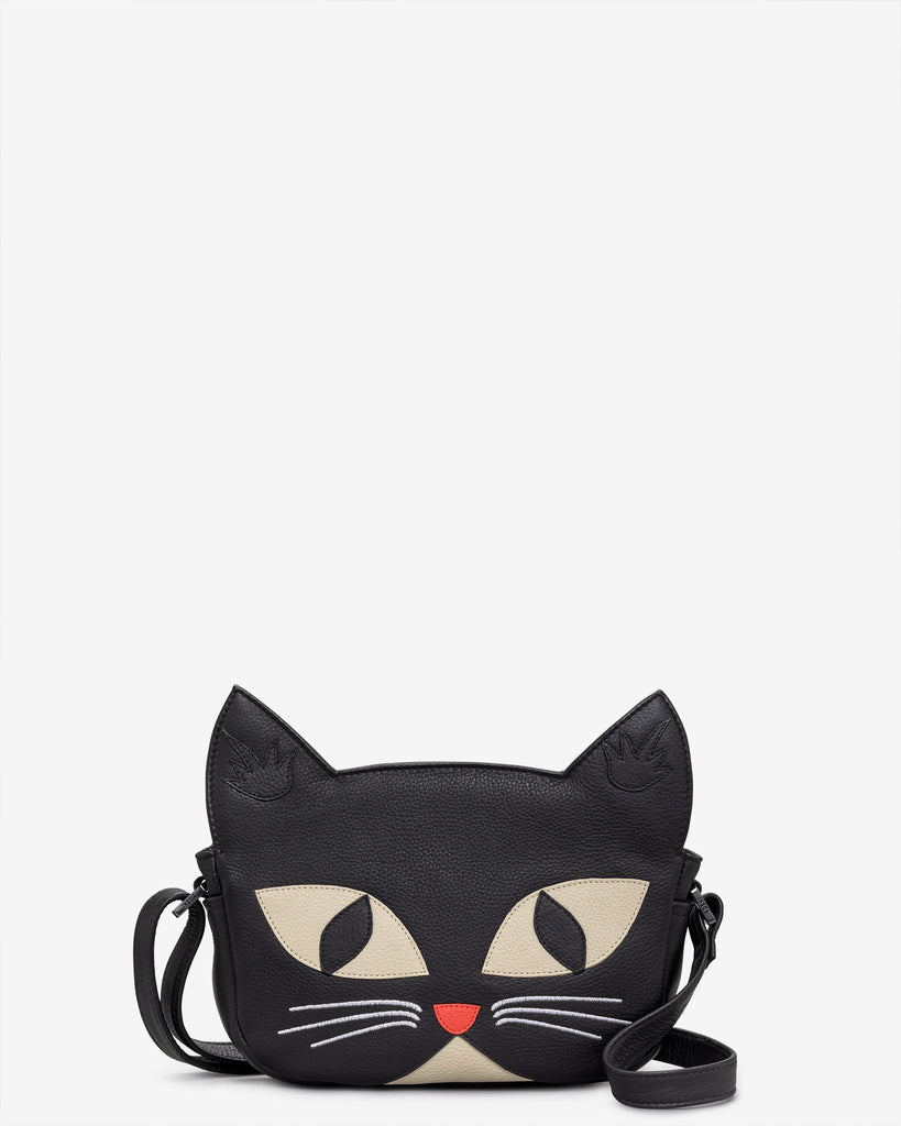 Bruce The Cat Leather Cross Body Bag - Black - Yoshi