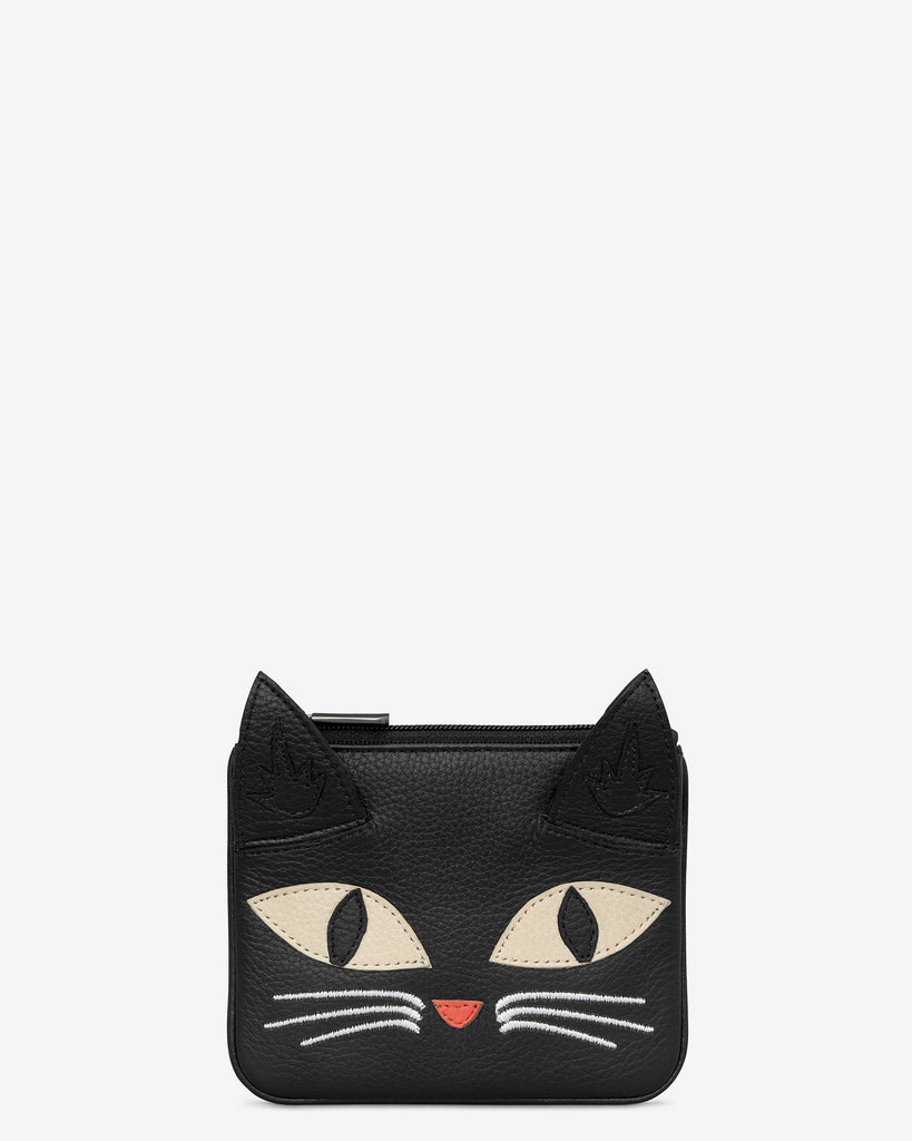 Bruce The Cat Black Leather Zip Top Purse - Black - Yoshi