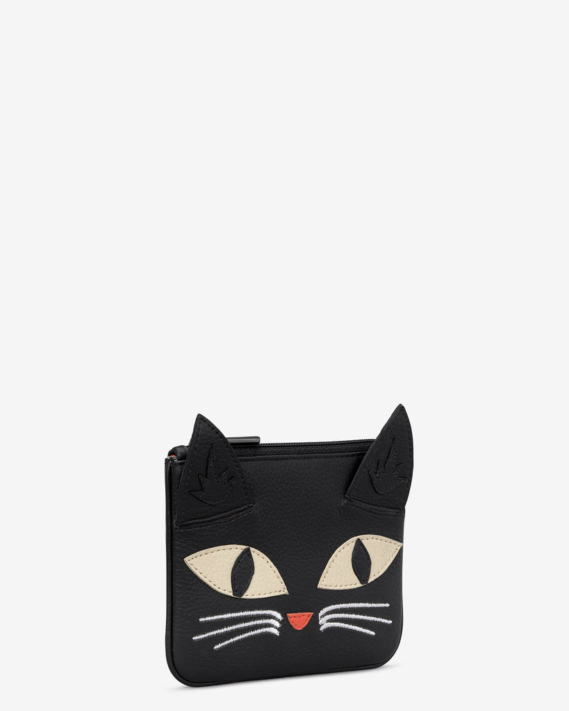 Bruce The Cat Black Leather Zip Top Purse -  - Yoshi