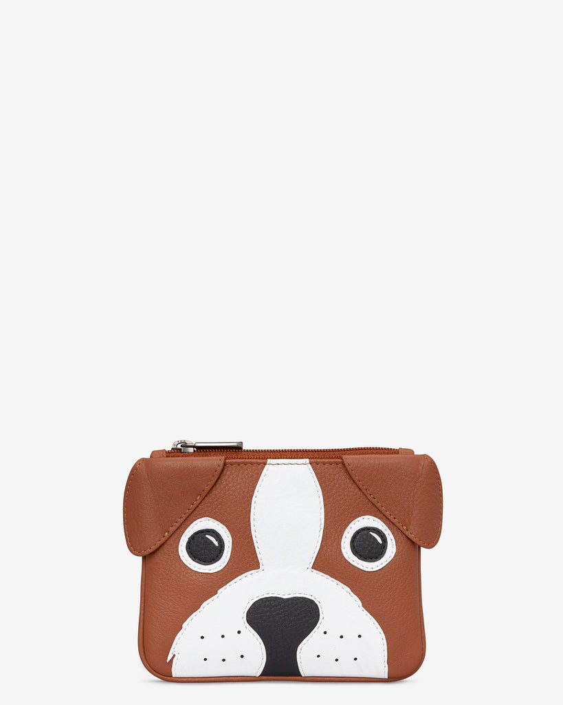 Buddy The Dog Zip Top Leather Purse - Tan - Yoshi