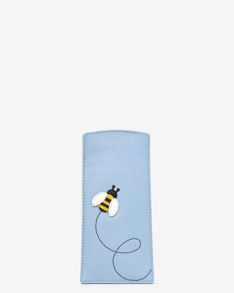Bumble Bee Blue Leather Glasses Case - Blue - Yoshi