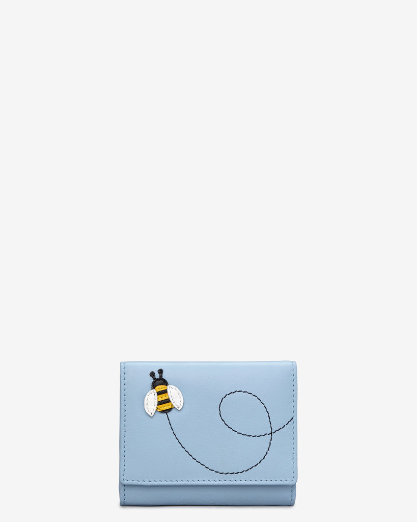 Bumble Bee Blue Leather Zip Around Compact Purse - Blue - Yoshi