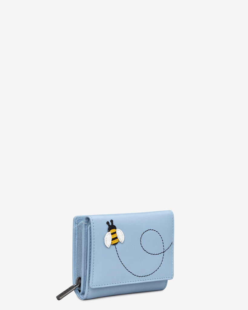 Bumble Bee Blue Leather Zip Around Compact Purse -  - Yoshi