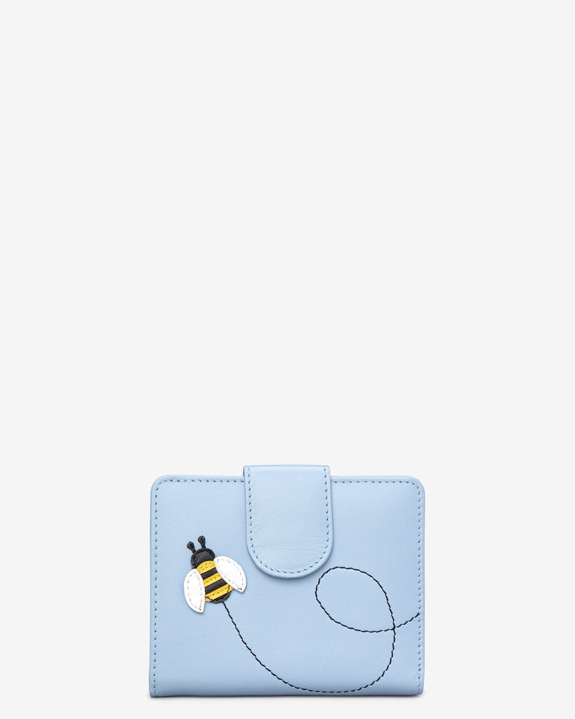 Bumble Bee Blue Leather Zip Around Purse - Blue - Yoshi
