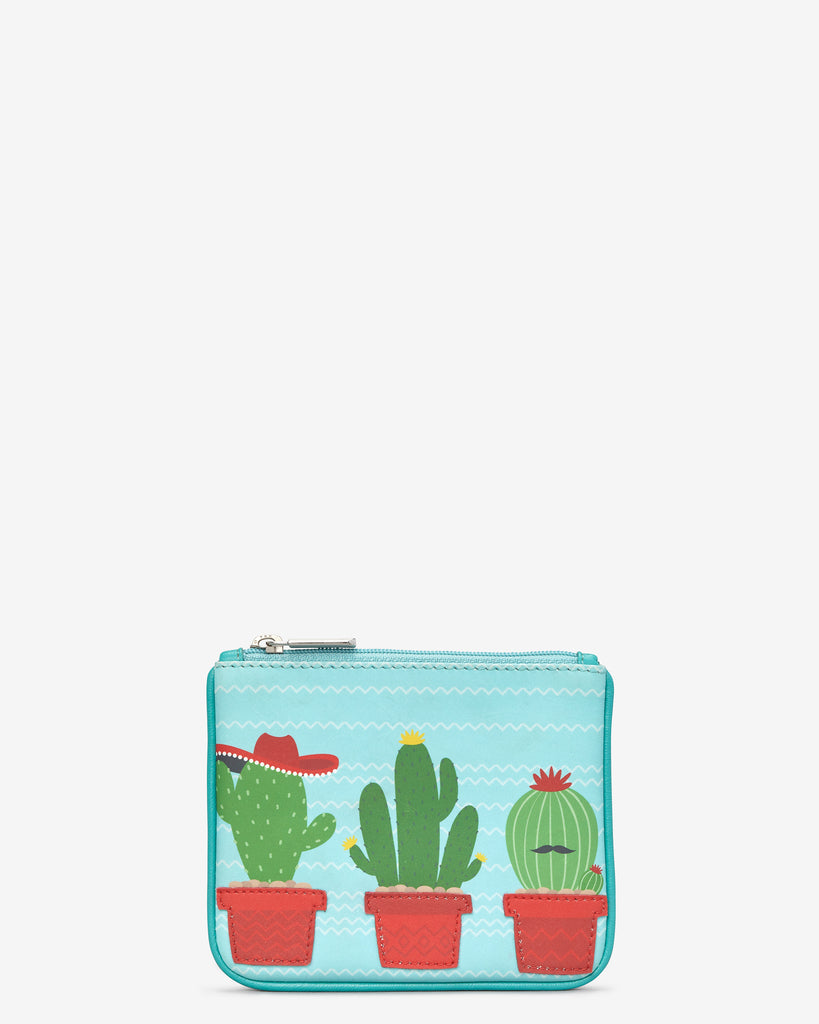 Cactus Zip Top Leather Purse - Blue - Yoshi
