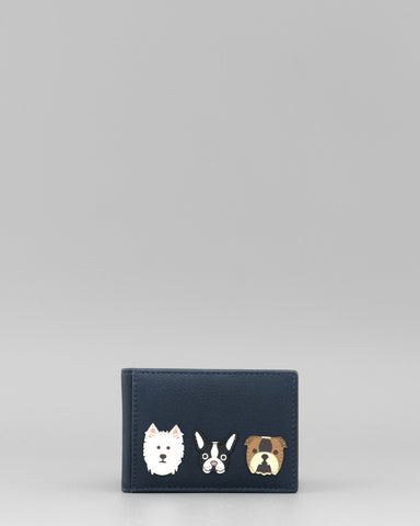 Canine Friends Applique Navy Leather Oyster Card by Yoshi A