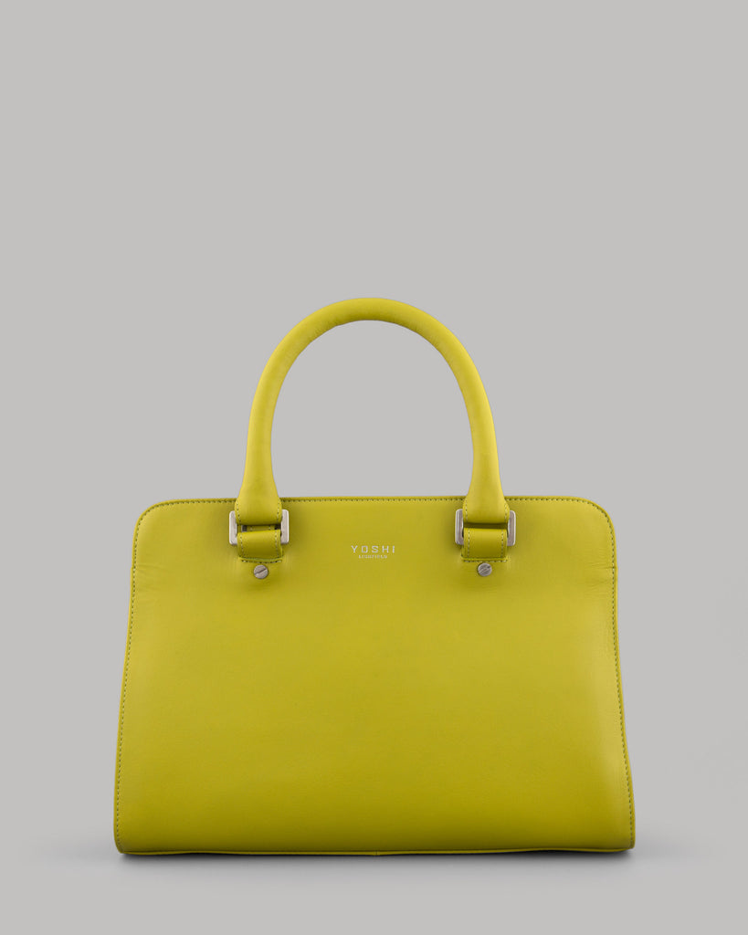 Cassidy Ladies Avocado Green Leather Tote Bag by Yoshi
