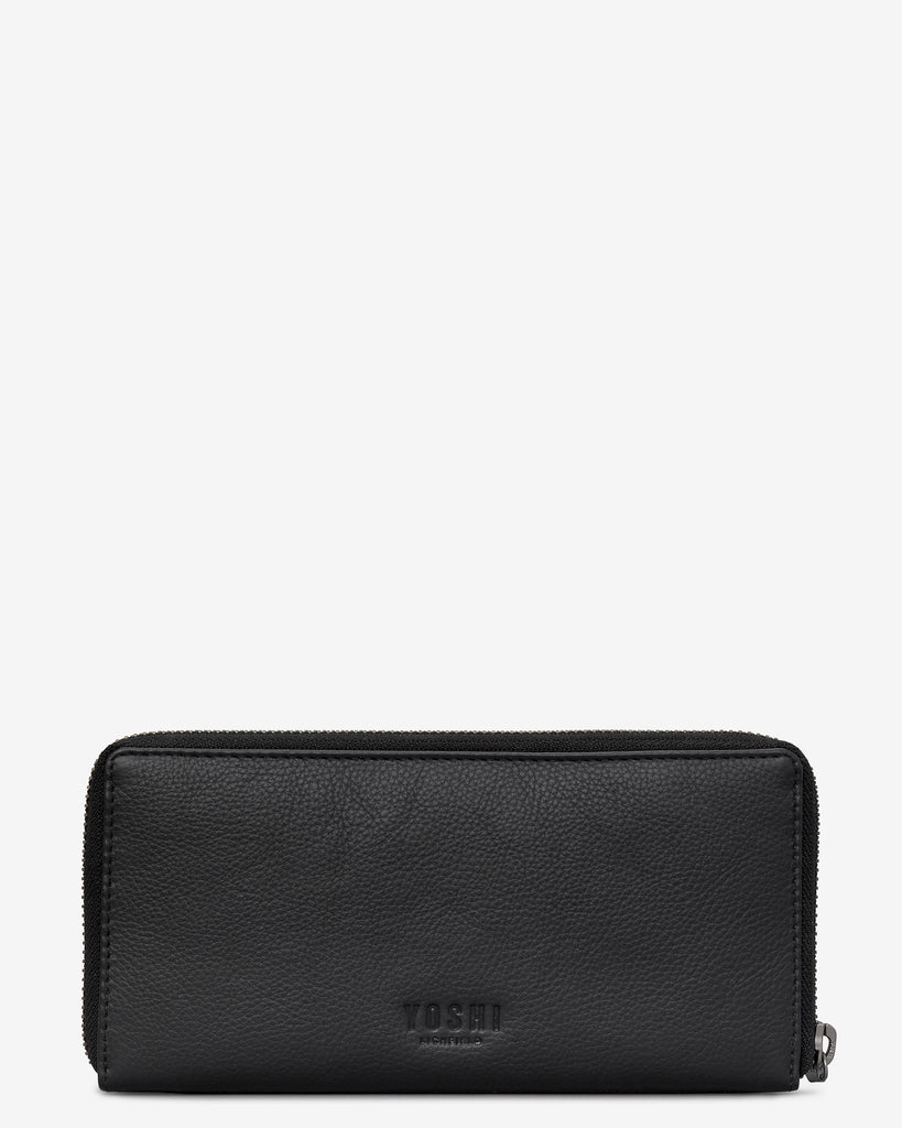 Cat Lounge Black Leather Baxter Purse - Yoshi