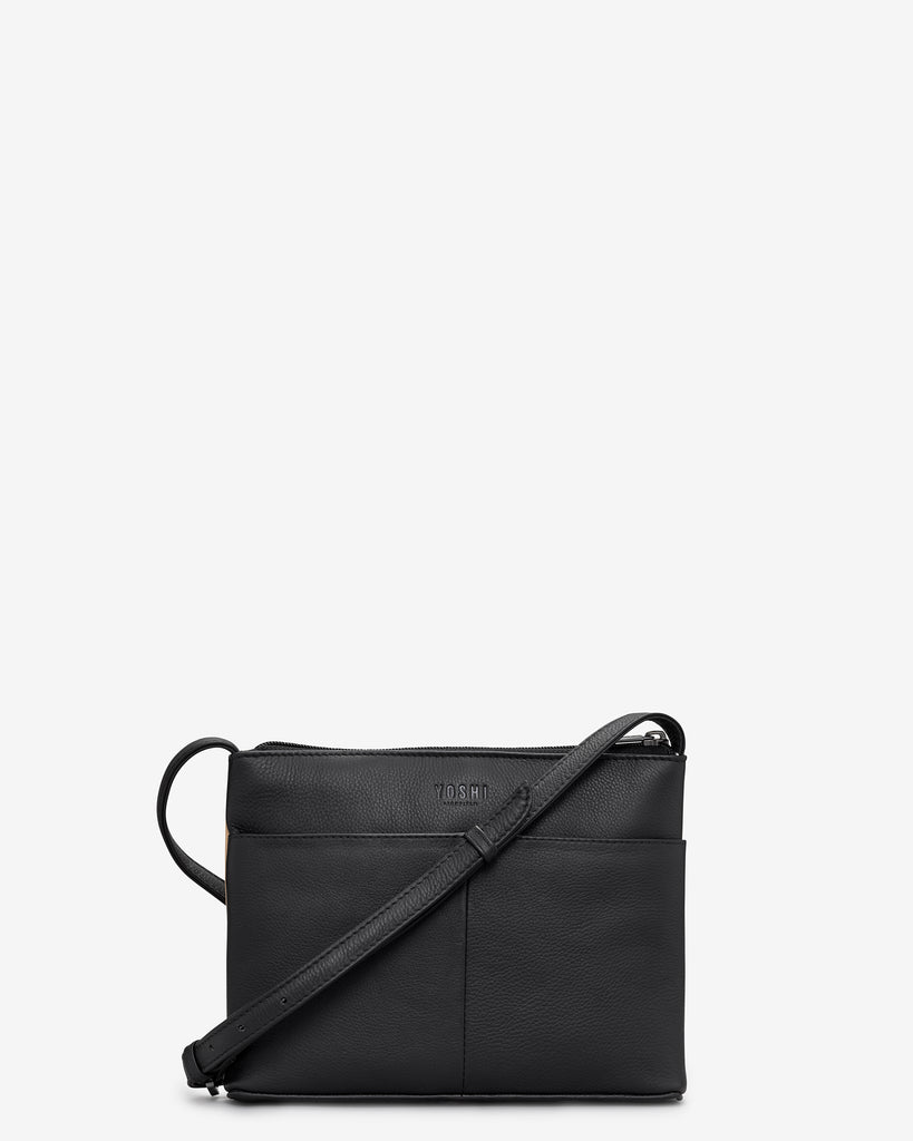 Cat Lounge Black Leather Cross Body Bag - Yoshi