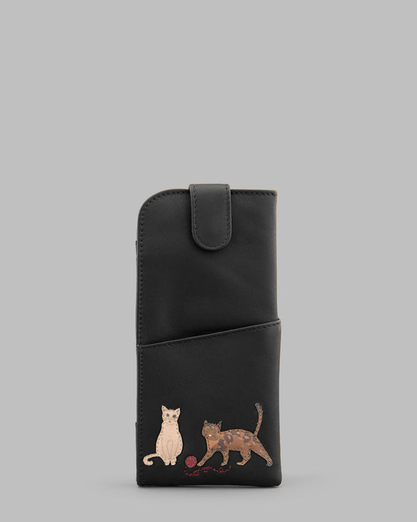 Cats Whiskers Black Leather Glasses Case A
