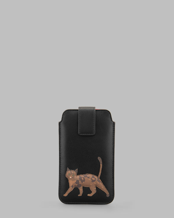 Cats Whiskers Black Leather Mobile Phone Case A