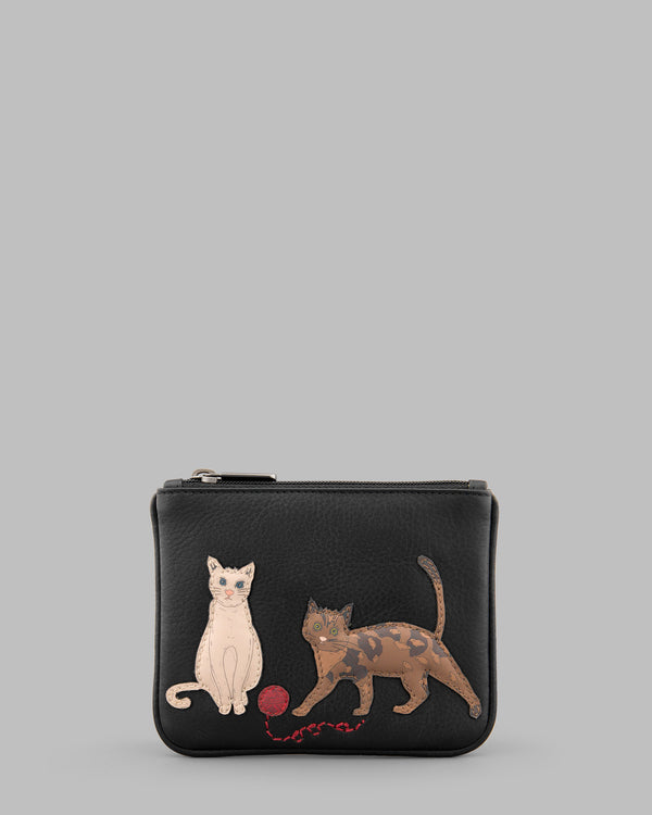 Cats Whiskers Black Leather ZipTop Purse A
