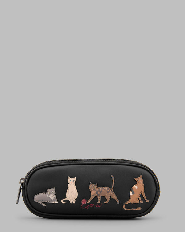 Cats Whiskers Black Leather Zip Round Glasses Case A