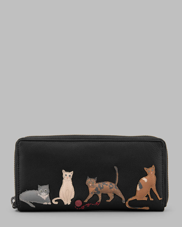 Cats Whiskers Black Leather Zip Round Purse A