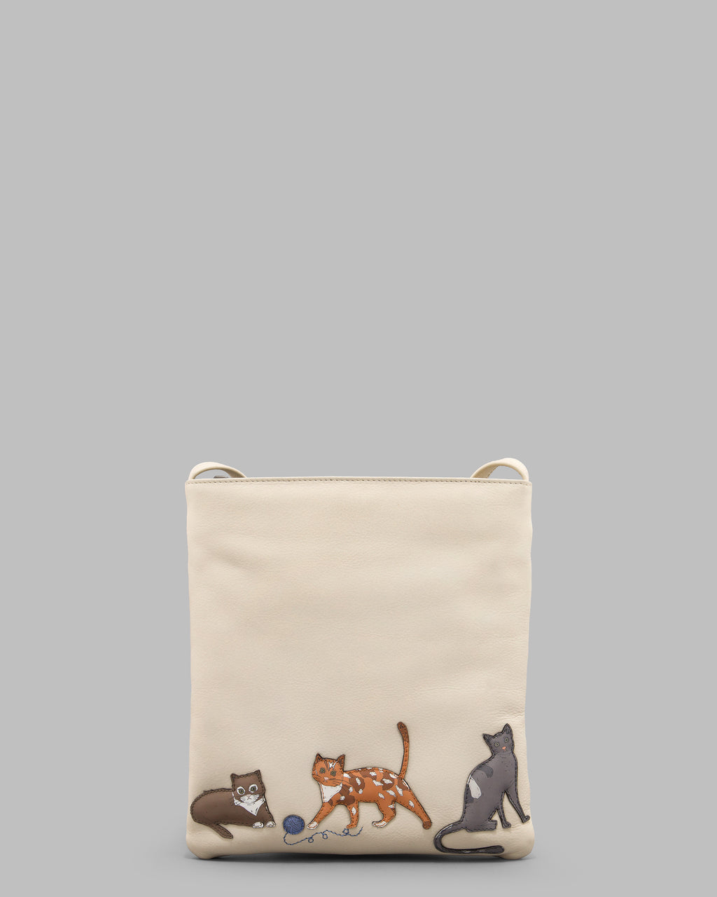 Cats Whiskers Cream Leather Cross Body Bag A