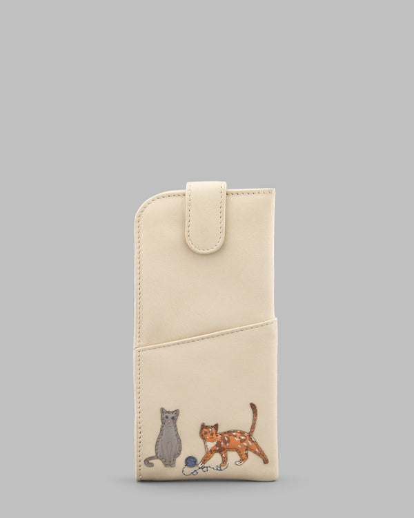 Cats Whiskers Cream Leather Glasses Case A
