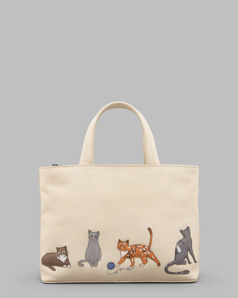 Cats Whiskers Cream Leather Grab Bag - Cream - Yoshi