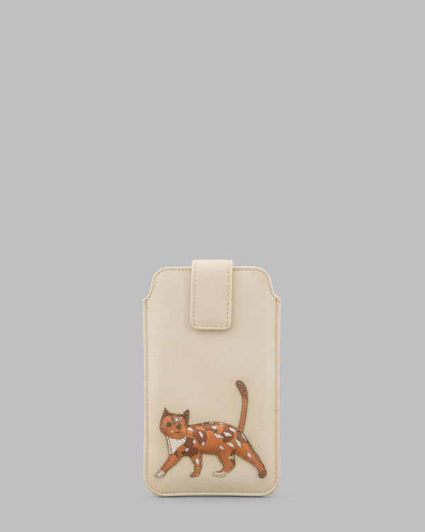Cats Whiskers Cream Leather Mobile Phone Case A
