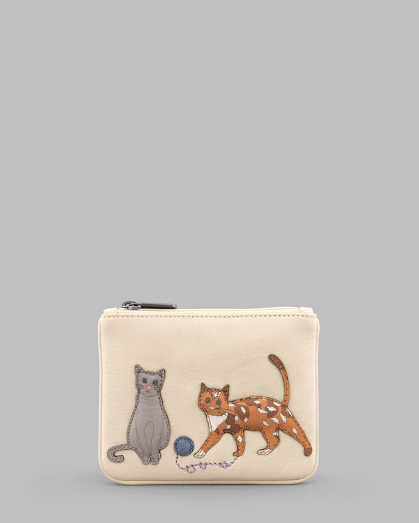 Cats Whiskers Cream Leather ZipTop Purse A