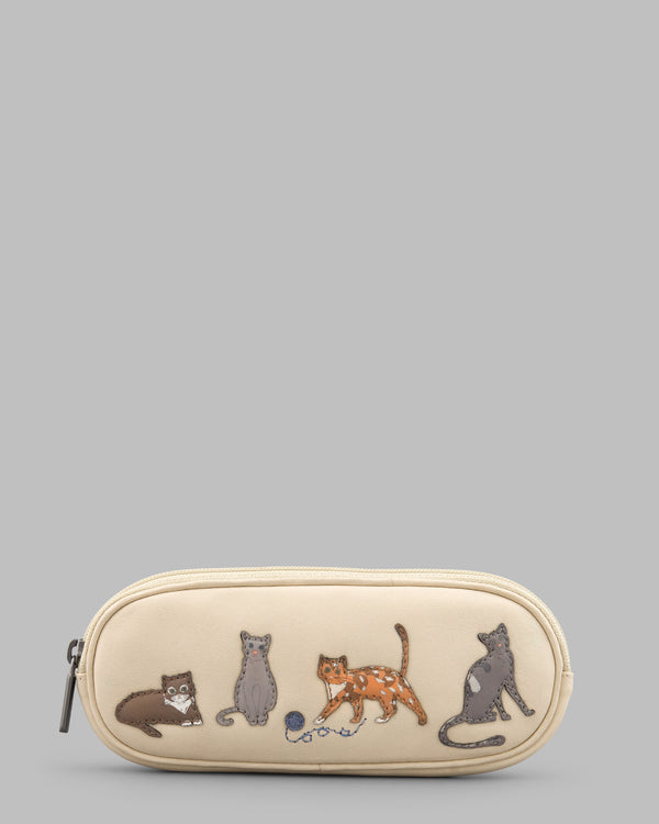 Cats Whiskers Cream Leather Zip Round Glasses Case A