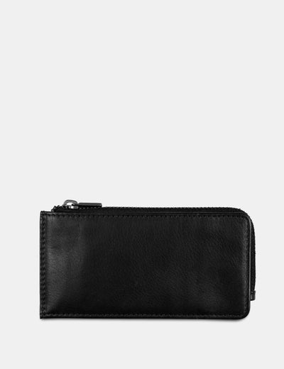 Black Flap Over 'Mes Especial' Leather Card Holder - Yoshi