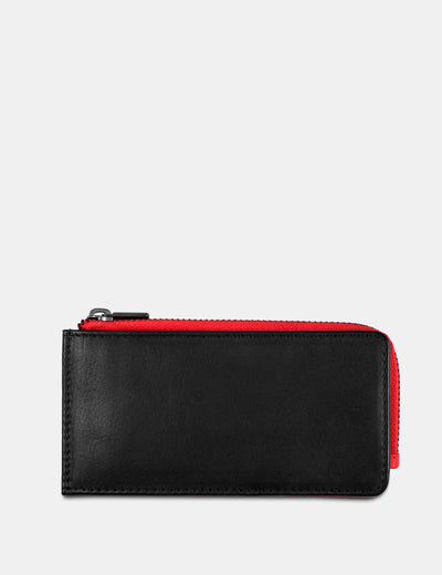 Black / Red Flap Over 'Mes Especial' Leather Card Holder - Yoshi