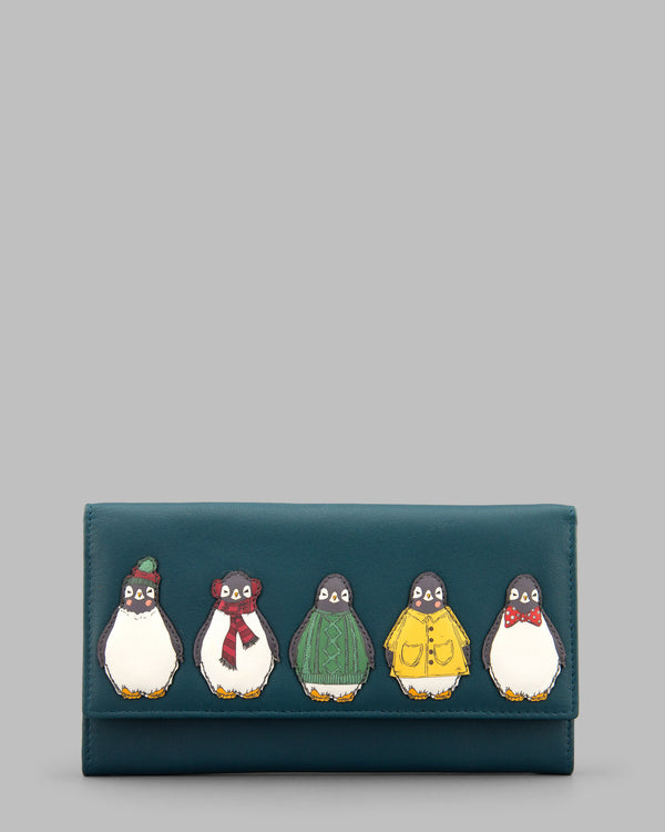Chilly Chums Teal Leather Flap Over Purse A