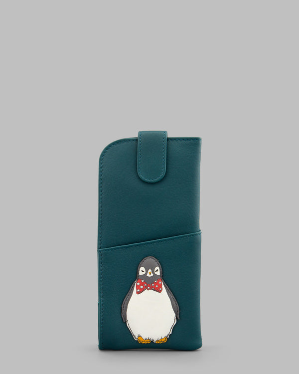 Chilly Chums Teal Leather Glasses Case Bow Tie A