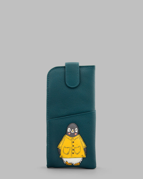 Chilly Chums Teal Leather Glasses Case Yellow Mac A