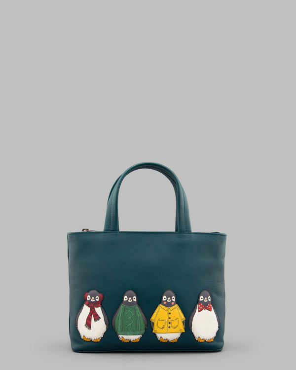 Chilly Chums Teal Leather Grab Bag A