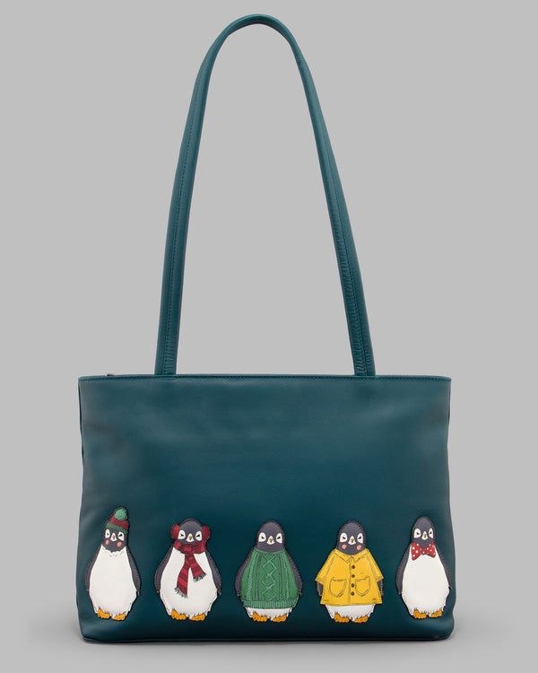 Chilly Chums Teal Leather Shouder Bag A