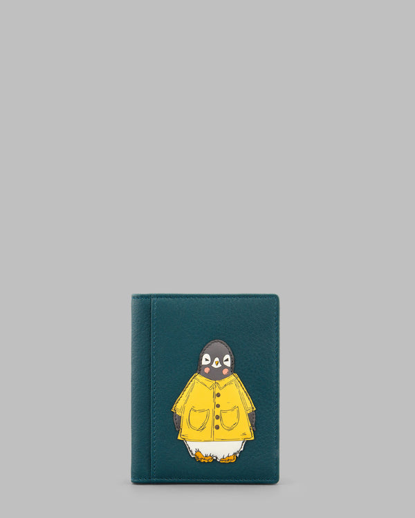 Chilly Chums Teal Leather Travel Pass Holder Yellow Mac A