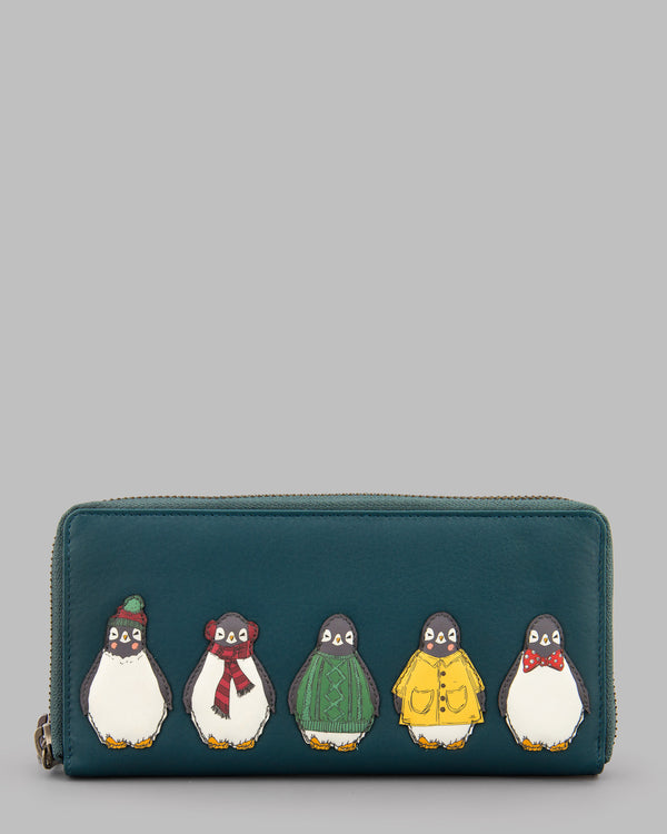 Chilly Chums Teal Leather Zip Round Purse A