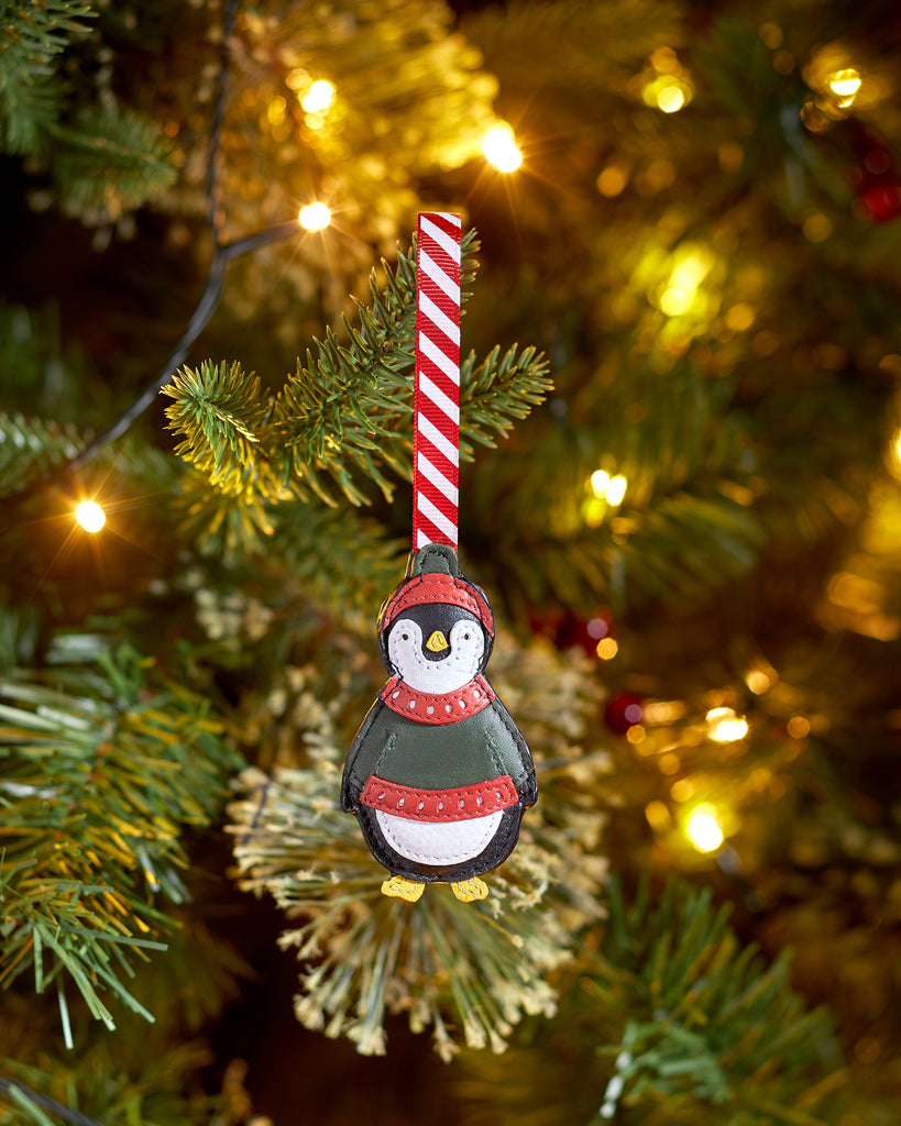 Chilly The Penguin Black Leather Christmas Tree Decoration -  - Yoshi