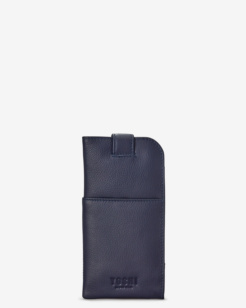 Navy Leather Chilton Glasses Case - Yoshi