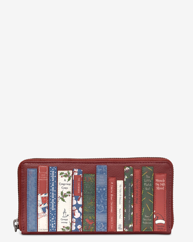 Christmas Bookworm Red Leather Baxter Purse - Yoshi