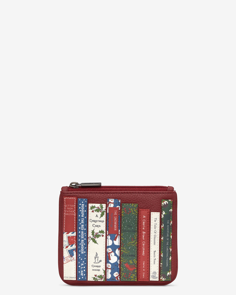 Christmas Bookworm Red Leather Caxton Purse - Red - Yoshi