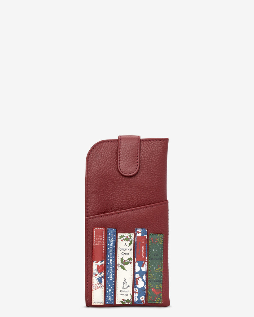Christmas Bookworm Red Leather Chilton Glasses Case - Red - Yoshi