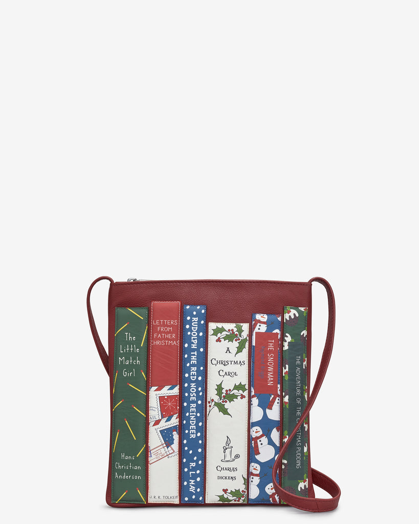 Christmas Bookworm Red Leather Cross Body Bag - Red - Yoshi