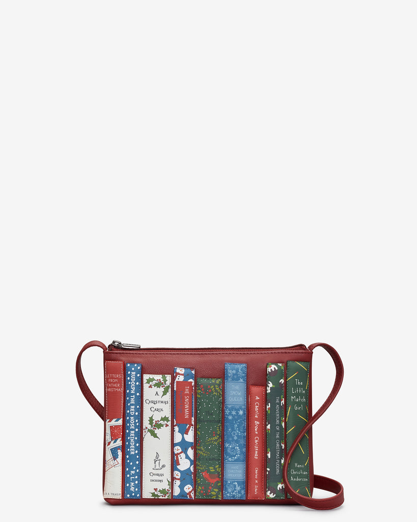 Christmas Bookworm Red Leather Cross Body Bag - Yoshi