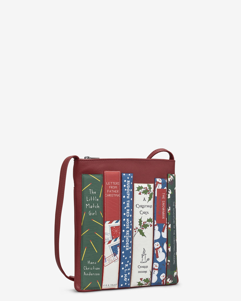 Christmas Bookworm Red Leather Cross Body Bag -  - Yoshi