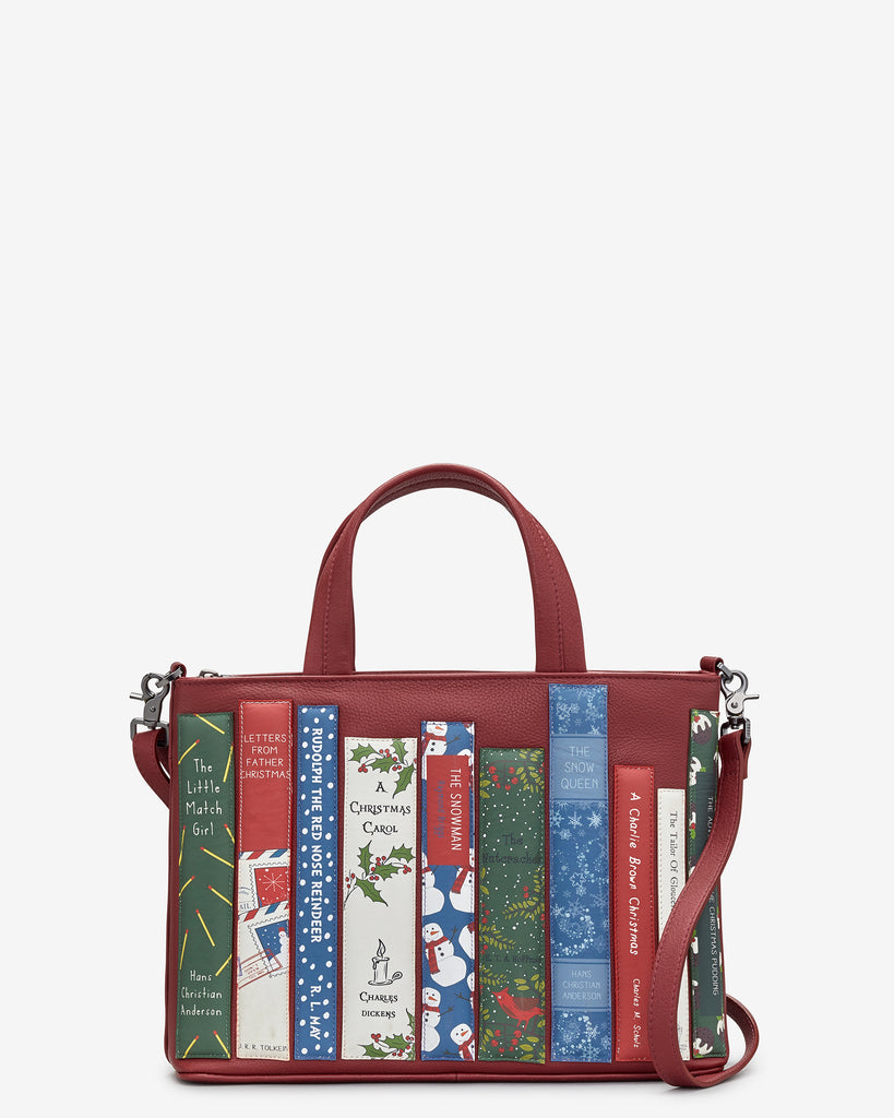 Christmas Bookworm Red Leather Multiway Grab Bag - Red - Yoshi