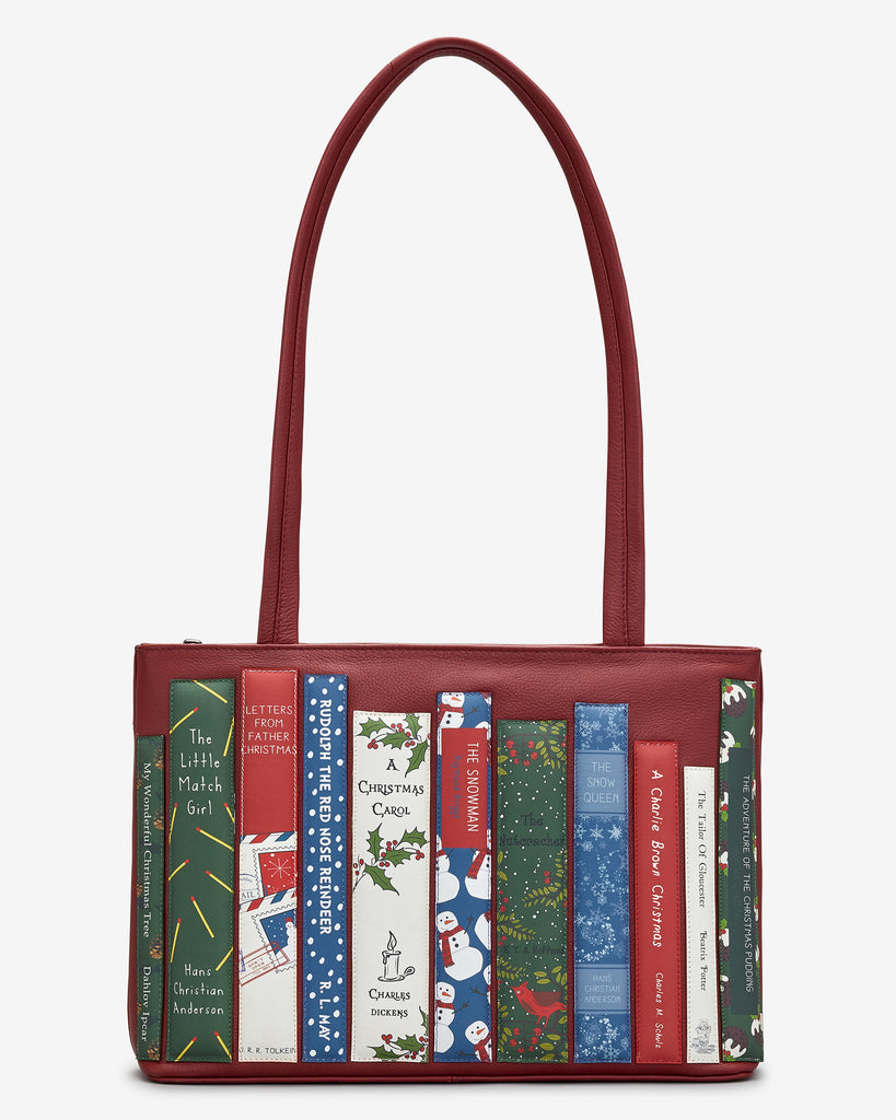 Christmas Bookworm Red Leather Shoulder Bag - Red - Yoshi