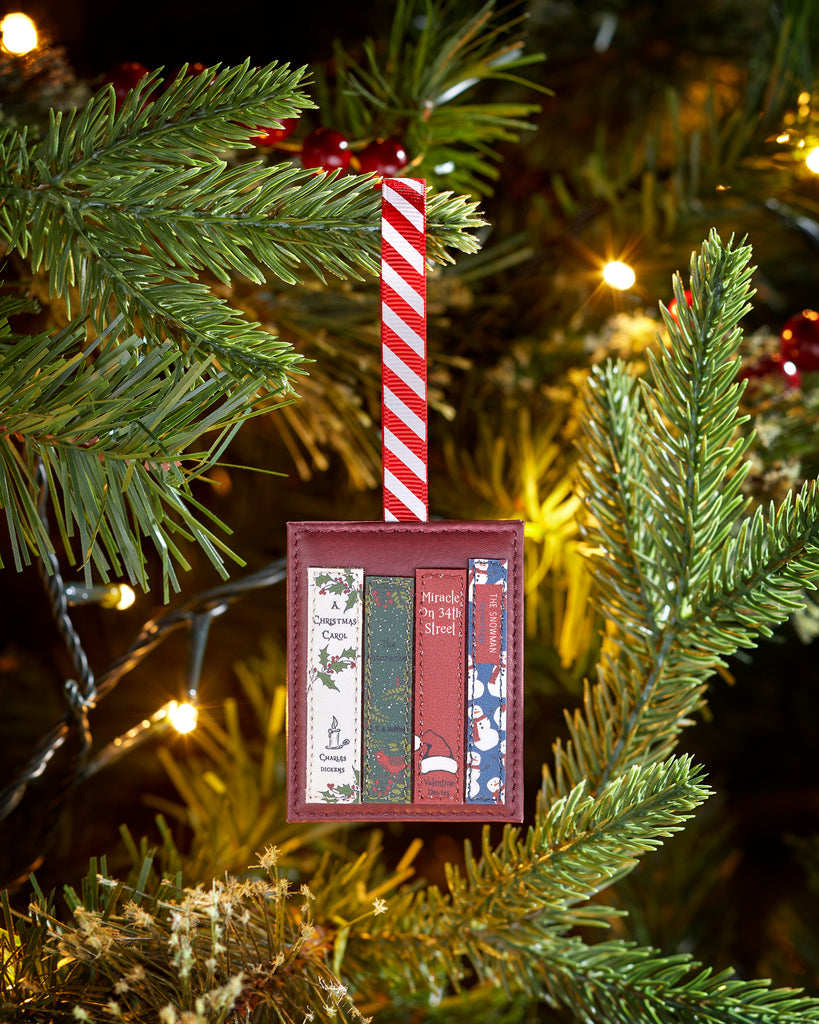 Christmas Bookworm Red Leather Tree Decoration -  - Yoshi