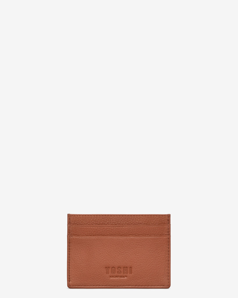 Christmas Bookworm Tan Leather Academy Card Holder - Yoshi