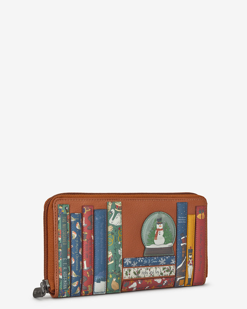 Christmas Bookworm Tan Leather Baxter Purse - Yoshi