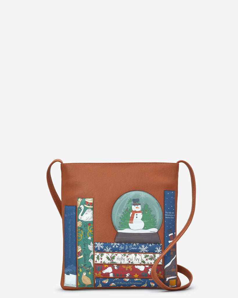 Christmas Bookworm Tan Leather Cross Body Bag - Yoshi