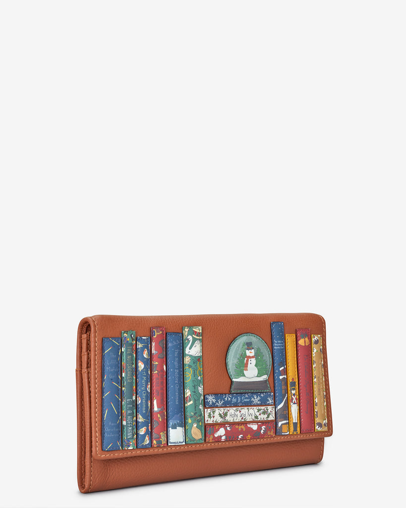 Christmas Bookworm Tan Leather Hudson Purse - Yoshi