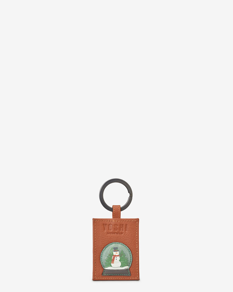 Christmas Bookworm Tan Leather Keyring - Yoshi