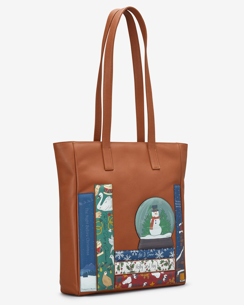 Christmas Bookworm Tan Leather Shopper Bag - Yoshi